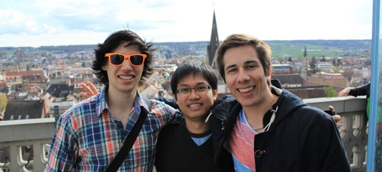 Josh (L) with two of his housemates taking in the view from the top of the Constance Cathedral in southern Germany.