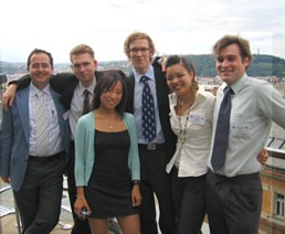 Faruk (far left) and Alison (second from right) with other students at a leadership program in Prague