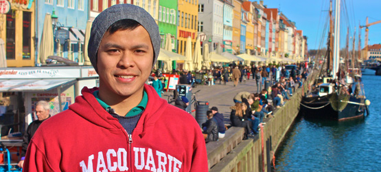 Jefferson, pictured in Denmark where he is currently completing an exchange semester.