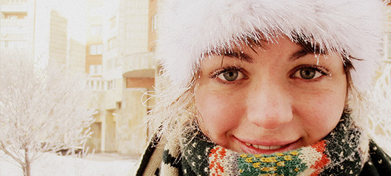 Icicles on Sarah's eyelashes show how cold winter in St Petersberg can get.