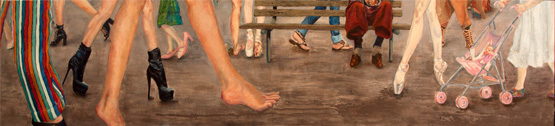 Bound by the Shoe of Sisterhood by Peta Gischus, 2014, acrylic and oil on canvas, 30cm x 150.5cm