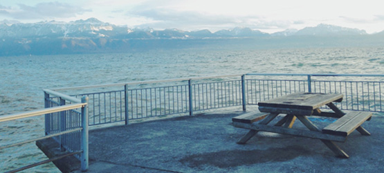 The view of Lac Léman, or Lake Geneva, from Lausanne is a testament to Switzerland's breathtaking scenery. Photo: Jenny Kim