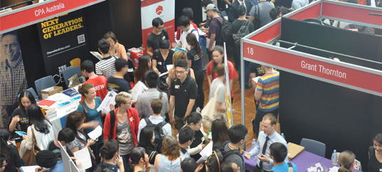 Held twice a year, the Careers Fair is a chance for Macquarie University graduates and current students to meet and discuss employment opportunities with companies seeking to hire. Photo: Sze Kai Chen