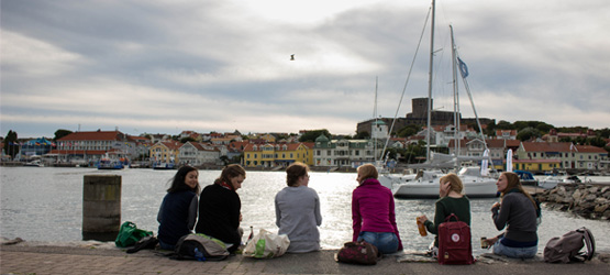 Megan Siew (left) and fellow exchange students take a break while on tour to the resort town of Marstrand.