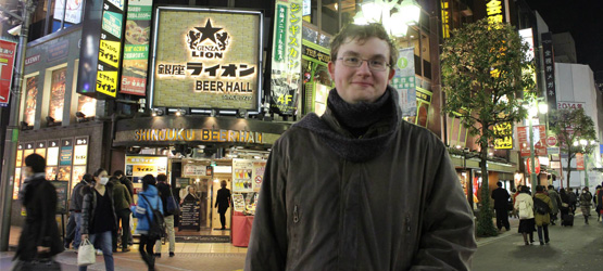 Bachelor of Arts student Karl Roman-Miller visits Shinjuku while on exchange to Tokyo Metropolitan University, 'despite the terrible cold weather at the time'.