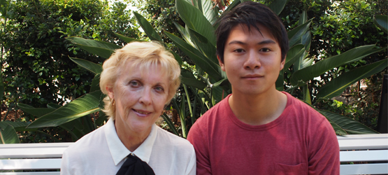 Bachelor of Commerce student Legrand Buan (right) with his First STEP mentor, Dr Verity Greenwood.