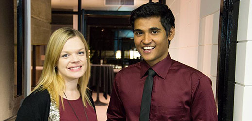 Fahad Haider and fellow mentor Alyse Jones  at the Mentors@Macquarie Recognition Night.