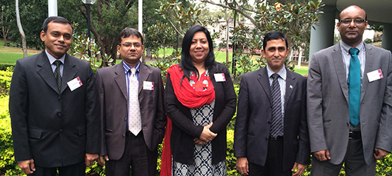 Pradip Royhan from Macquarie University Centre for Environmental Law (left) with Bangladesh Finance Ministry Officials.